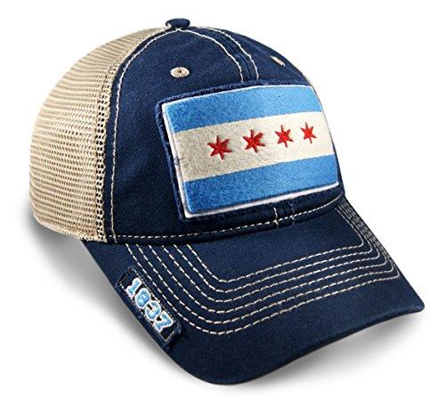 Sears Womens Hats - Chicago Flag Dad Hat in Navy Mesh Adjustable Snapback Vintage Look