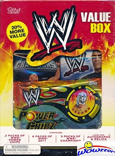 - 2011 Topps WWE HUGE Factory Sealed Value Box with 12 Packs! Includes Packs of 2011 Topps WWE, WWE Champions & Power Chipz! Look for The Rock, Jon Cena, Triple HT and Many More!