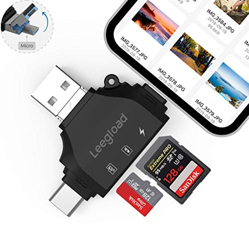 LEEGLOAD 4 in 1 TF/SD Card Reader Compatible with iPhone/Android/Computer,Digital Camera SD Reader Adapter,Memory Card Adapter with Lightning/USB C/USB A/Micro USB,Trail Camera Viewer(Black) (Dual Sim Card Adapter For Iphone 4)