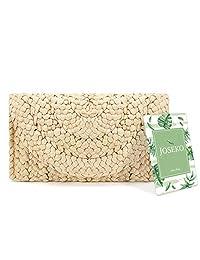 Straw Clutch Purse, JOSEKO Women Straw Envelope Bag Wallet Summer Beach Bag