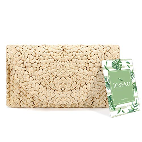 Straw Clutch Purse, JOSEKO Women Straw Envelope Bag Wallet Summer Beach Bag
