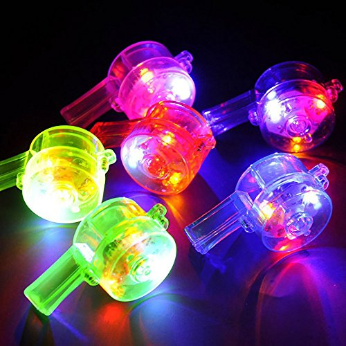 Livoty Beautiful Colorful Flashing Whistle Lanyard LED Light for Kids Birthday Party Gift