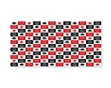 Lunarable Casino Wall Art, Card Suits Advertising Leisure Luck Gaming Entertainment Repeat Illustration, Gloss Aluminium Modern Metal Artwork for Wall Decor, 23.5 W X 11.6 L Inches, Red Black White