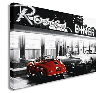 Rosies Diner Retro Vintage Cars Cadre Mural Impressions Sur Toile