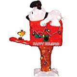 Product Works 36-Inch Pre-Lit Peanuts Snoopy on the Mailbox Animated Christmas Yard Decoration, 105 Lights