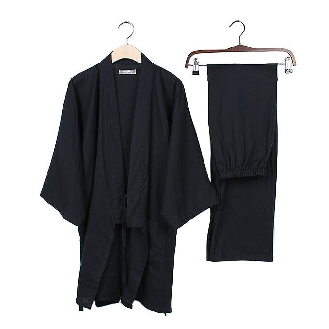 465a55ca8a Los trajes del estilo japonés de los hombres puros del kimono del algodón  juegan el vestido que se viste del juego   13  Amazon.es  Ropa y accesorios