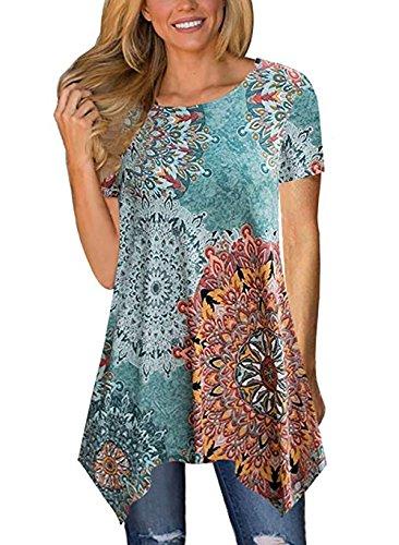 LANROON Women's Ccomfy Short Sleeve Asymmetrical Hem Floral Tunic Tops Shirts (Large, Blue #2) ()