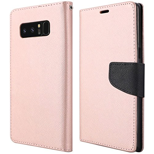 (Samsung Galaxy Note 8 Case, Luckiefind Design Premium PU Leather Flip Wallet Credit Card Cover Case, Stylus Pen Accessories (Rose Gold))