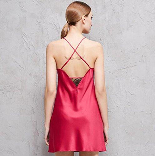 Ropa Red Camisón Cordón Pijamas Casera Encaje Modyl Hielo Sexy Verano Seda Las pink Señoras Halter Nightdress m Sling De xUwwXOq6