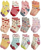 RATIVE RG-82021 Non Skid Cotton Crew Socks With Grips For Baby Toddler Girls (12-24 Months, 12 designs/RG-820726)