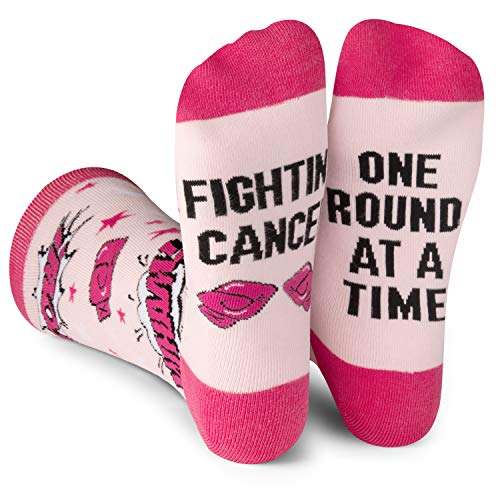Beat Cancer One Round at a Time - Fun Colorful Pink Women's Crew Socks for Cancer Patients, Survivors, Doctors, and Families - by Lavley (Best Food For Leukemia Patients)