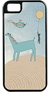 LJF phone case iPhone 4 4S Cases Customized Gifts Cover Artistic donkey in desert with seagull flying overhead Design