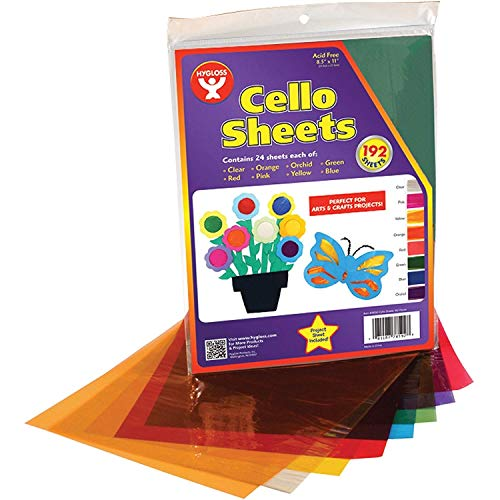Hygloss Products Cellophane Sheets – 192 Cello Sheets – Great for Arts, Crafts, DIY Projects, Baskets, Wrapping Gifts, Classroom Activities, Holidays & Much More – 8.5 by 11 Inches, Assorted Colors
