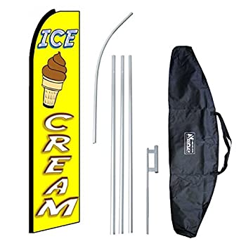 """Ice Cream Yellow (Extra Wide)"" 12-foot Swooper Feather Flag and Case Complete Set...includes 12-foot Flag, 15-foot Pole, Ground Spike, and Carrying/Storage Case"