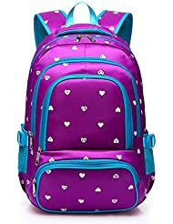 Hearts Print School Backpacks For Girls Kids Elementary School Bags Bookbag
