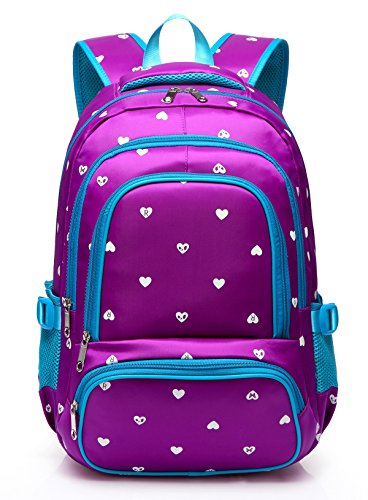 (Fashion Girls Backpack for Kids Elementary School Bag Girly Bookbag Children 17 Inch Nylon Heart Print (Purple & Blue))