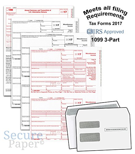 1099 Kit - Complete Laser 1099 Misc Tax Form set And 1096 - Kit For 25 Vendors ~3-Part~ All 1099 Forms with Self-Seal Envelopes in Value Pack | 1099 Misc 2017