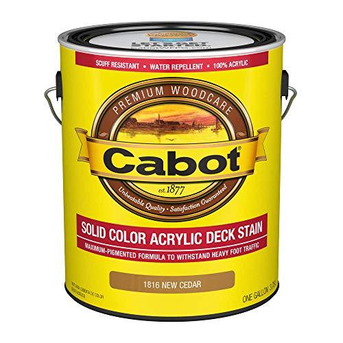 CABOT SAMUEL 1816-07 INC Gallon, Cedar, Solid Color Acrylic Deck Stain, 1 gal
