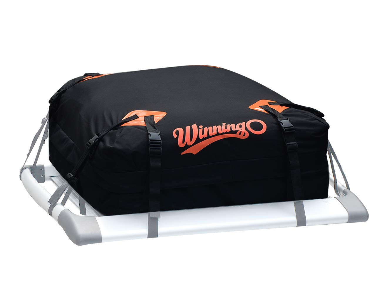 WINNINGO Cargo Bag, Water Resistant Cargo Bag Easy to Install Soft Rooftop Luggage Carriers Works with or Without Roof Rack (Free Waterproof Cover) (Black)