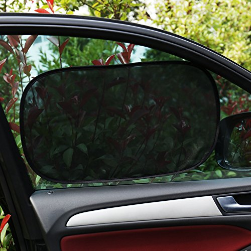 SINSEN Car Window Shade 4 Pack 2 Transparent and 2 Semi-Transparent Sunshades 80 GSM Car Sun Shade Protect Your Family from Sun Glare UV Rays Cling Car Window Shades for Baby 20x12