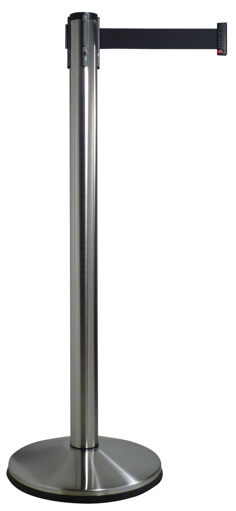 Visiontron 100PS1-BK Single Line Retractable Belt PRIME Stanchion Polished Stainless Steel w/10' Black Belt - Standard Belt End