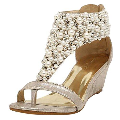 Azbro Mujer Sandalias Thong de Tacón Cuña con Perlas Falsas Dorado