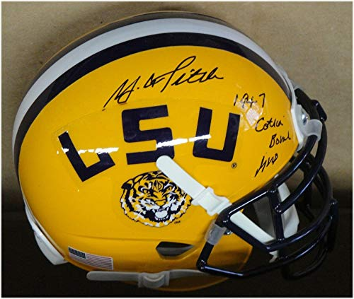 (YA Tittle Y.A. Hand Signed Autographed Mini Helmet LSU 1947 Cotton Bowl MVP - Autographed College Mini Helmets)