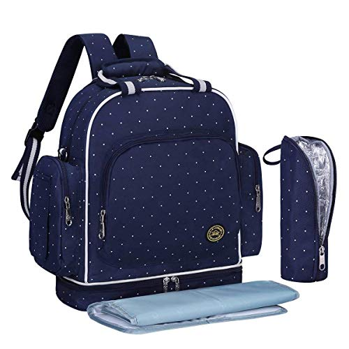 Baby Diaper Bag Travel Backpack Large Waterproof Shoulder Bag Fit Stroller with Changing Pad and Portable Insulated Pocket (Blue and White dots)