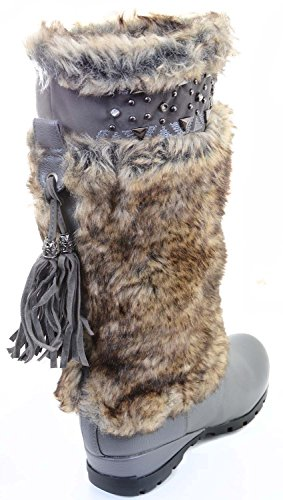 Outdoor Vegan Grey Studded Flat Rivet Boots Eskimo Fur Funky Fourever BFqxpp