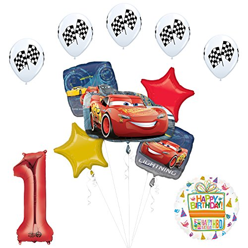 Mayflower Products Disney Cars 3 Lightning McQueen 1st Birthday Party Supplies Balloon Decorations ()