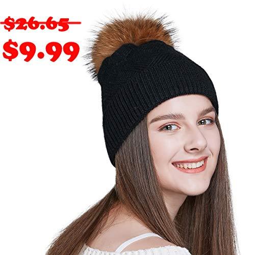 TERYJAN Womens Winter Pom Pom Beanie, Cable Knit Beanies Hats Warm Fleece Lined Knitted Soft Stretch Fur Pompom Beanie Hat