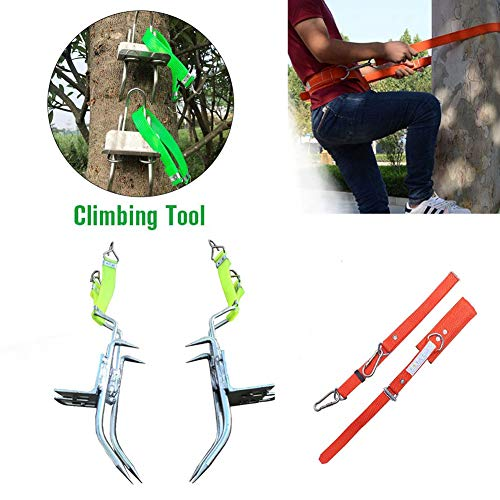 Tree Climbing Spikes with Climbing Harness Tree Climbing Strap Climbing Tool Shoes Sturdy Pole Stainless Steel with Sharp Claws Climbing Tree Shoes Spikes for Hunting Grab Dig Bird Nest Picking Fruit