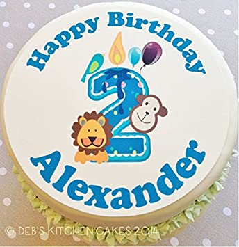 Personalised 2nd Birthday Zoo Boys Cake Topper Edible Icing