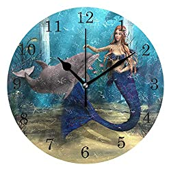 ZZKKO Cute Mermaid Dolphin on Ocean Wall Clock, Silent Non Ticking Battery Operated Easy to Read Decorative Wall Clock Kitchen Bedroom Bathroom Living Room Classroom