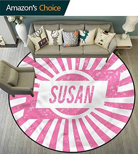 RUGSMAT Susan Art Deco Pattern Non-Slip Backing Machine Washable Round Area Rug,Birthday Girl Name Design Green Soft Area Rugs Diameter-39 ()