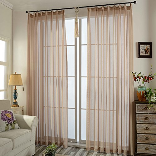 Cheap Anady Top Tulle Window Drapes Set of 2 Panels/Pair Polyester Linen Modern Simple Style Solid Light Brown/Coffee Small Particles Jacquard Sheer Curtains Grommet Top,42W by 63L-Inch Each Panel