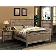 Furniture of America Vine Rustic Style Solid Wood Bed, Eastern King, Reclaimed Oak