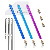 The Friendly Swede Extra Long Replaceable Fiber Tip Stylus 7.3'' - 3 Premium XXL Micro-Knit Capacitive Stylus Pens + Elastic Tether Lanyards & Spare Tips (Purple + Dark Blue + Light Blue)