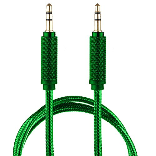- Lilware Braided Nylon Transparent PVC Jacket 1M Aux Audio Cable 3.5mm Jack Male to Male Cord For Multimedia Devices - Green