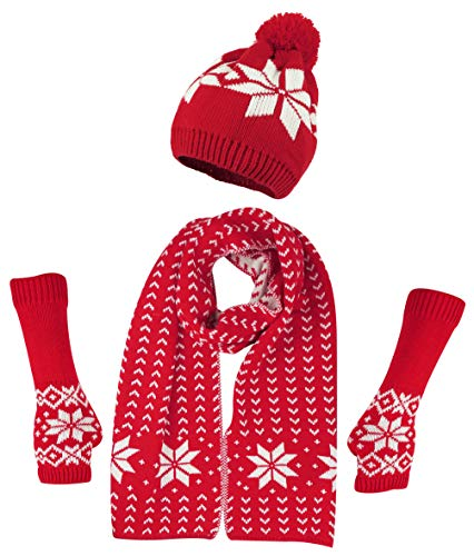 Bienvenu Women's Snowflake Hat Gloves and Scarf Winter Set,Red