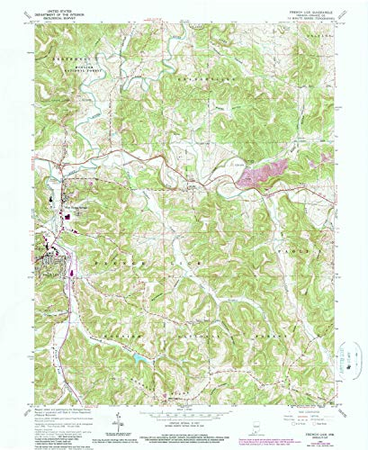 YellowMaps French Lick in topo map, 1:24000 Scale, 7.5 X 7.5 Minute, Historical, 1965, Updated 1990, 26.8 x 22 in - Paper