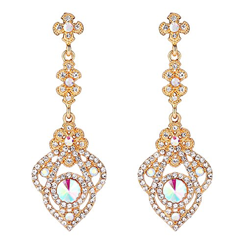 BriLove Victorian Style Dangle Earrings for Women Crystal Art Deco Gatsby Inspired Floral Chandelier Earrings Iridescent Clear AB Gold-Toned