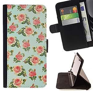 Momo Phone Case / Flip Funda de Cuero Case Cover - Floral Wallpaper Rose Retro - Samsung Galaxy S6 Active G890A