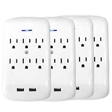 ClearMax Outlet Surge Protector with 6 AC Outlets & 2 USB Ports - UL Approved (6 Outlet 4 Pack)