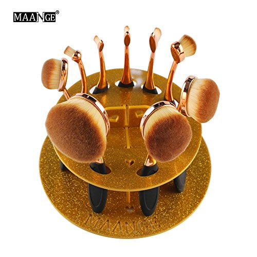 Cinidy Cosmetic Shelf Tool 10pc Oval Makeup Brush Holder Drying Rack Organizer (Gold Oval Shelf)