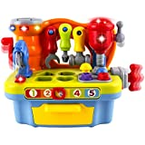 WolVol Musical Learning Workbench Toy with Tools, Engineering Sound Effects and Lights, and Shape Sorter