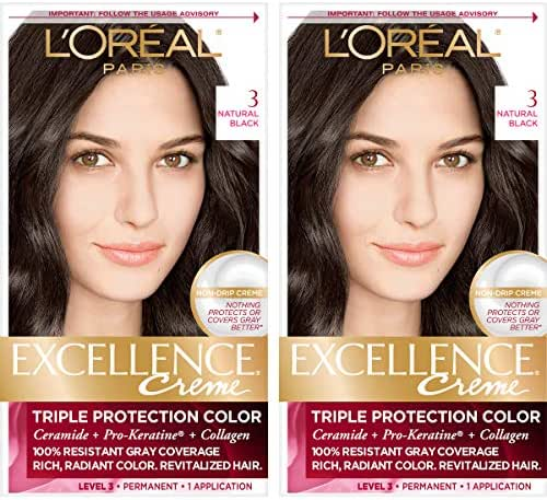L'Oréal Paris Excellence Créme Permanent Hair Color, 3 Natural Black, 2 COUNT 100% Gray Coverage Hair Dye