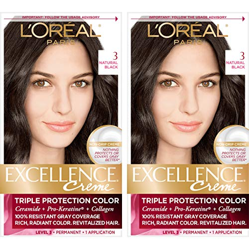(L'Oréal Paris Excellence Créme Permanent Hair Color, 3 Natural Black, 2 COUNT 100% Gray Coverage Hair Dye)