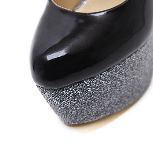 L@YC Frauen High Heels Fine Mit Flachen Mund Wasserdichte Tisch Tanz Sommer und Herbst Schuhe Black