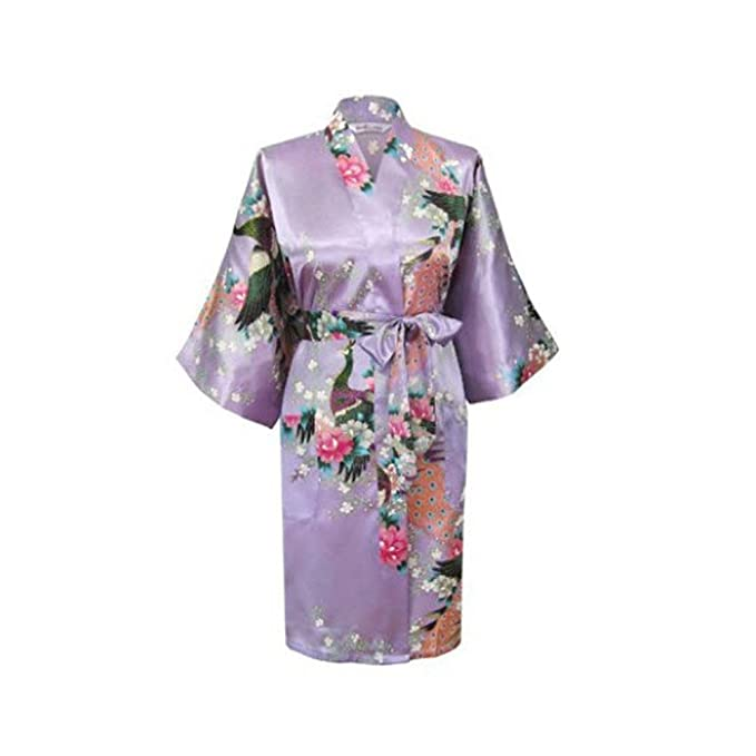 c4ced8e34 Kids Robe Satin Children Kimono Robes Bridesmaid Flower Girl Dress Silk  children's bathrobe Nightgown Kimono Peacock